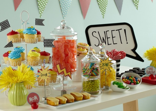 Comic Book Baby Shower Theme - Sweets Table