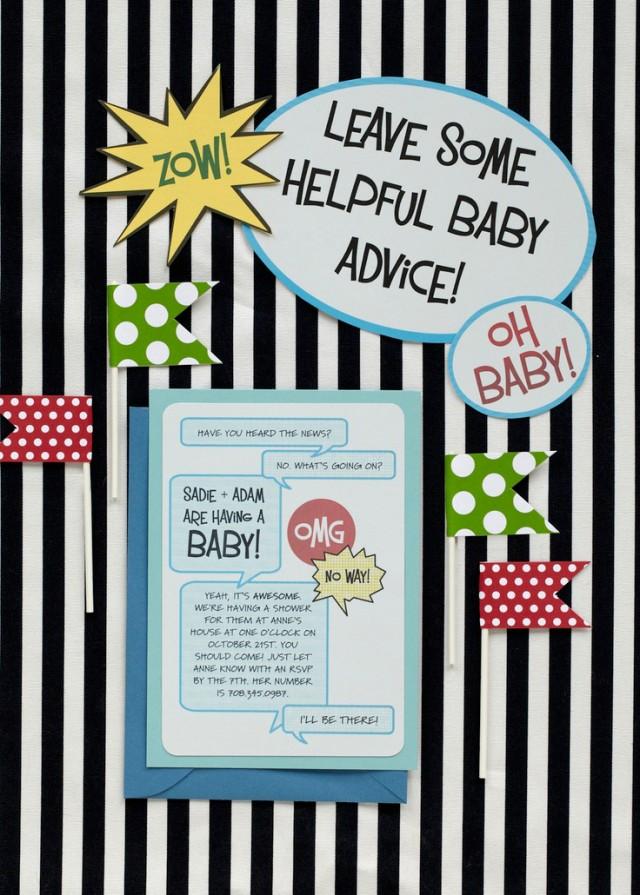Comic Book Theme Baby Shower Invitations