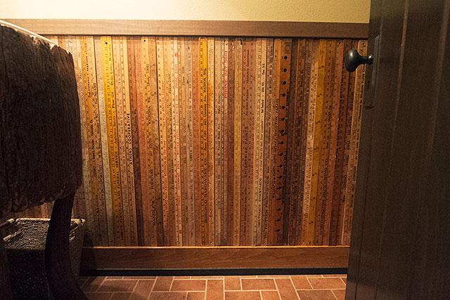 Vintage Yardsticks as Wainscoting