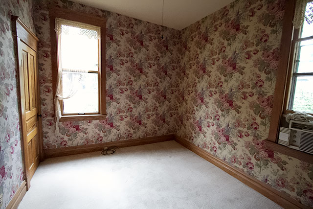 Floral Wallpapered Office