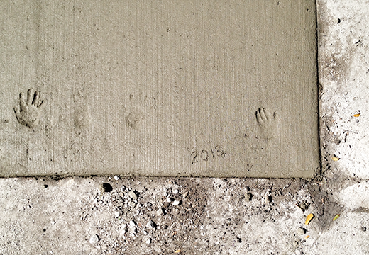 Hand Prints in Fresh Cement