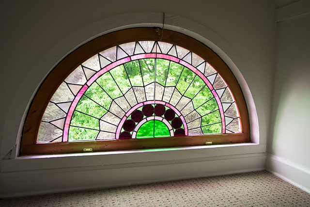 Stained Glass Demilune Window