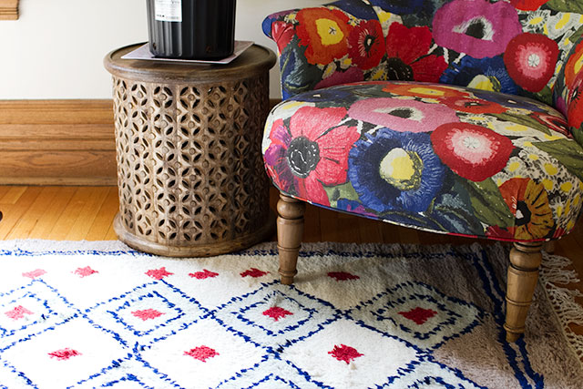 Crazy Patterned Rug, Crazy Floral Chair