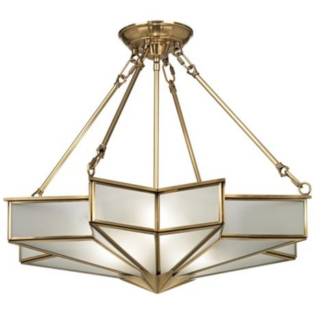 "Glass Star 24 3/4"" Wide Antique Brass Pendant Light"