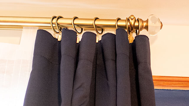 Brass Curtain Rod and Clip Rings