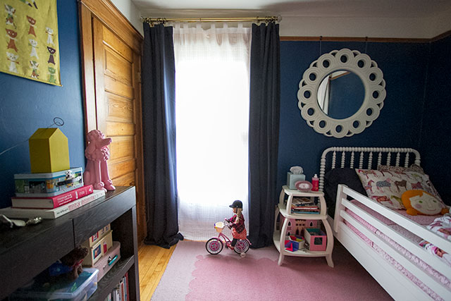 Dark Blue Curtains in a Dark Blue Kid's Room