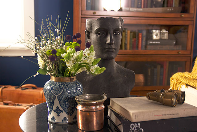 Blue and White Vintage Pottery as a Flower Vase