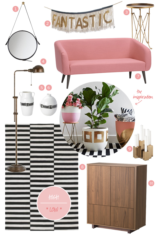 Pink, Stripes, and Wood - Low