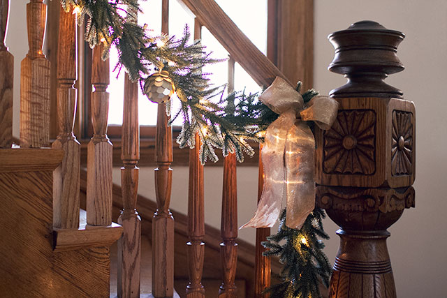 Garland on the Stairs for Christmas