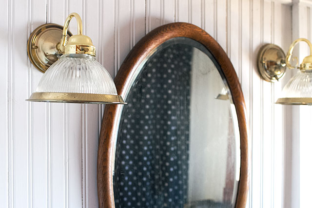 Antique Bathroom Mirror and Brass Sconces #makingitlovely