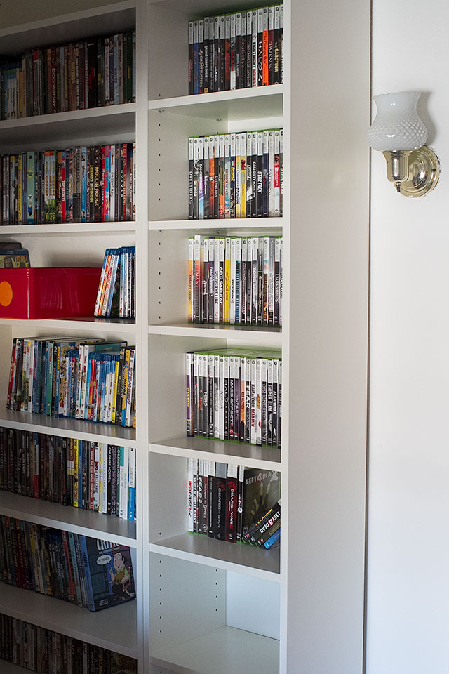 IKEA Billy bookcases to hold movies and video games