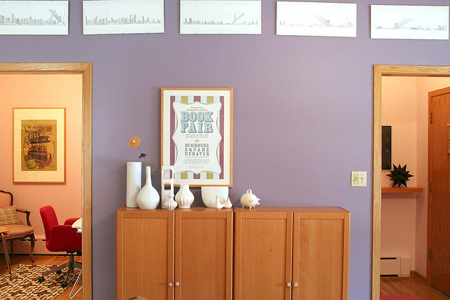 Purple Apartment with Beech Billy Bookcases