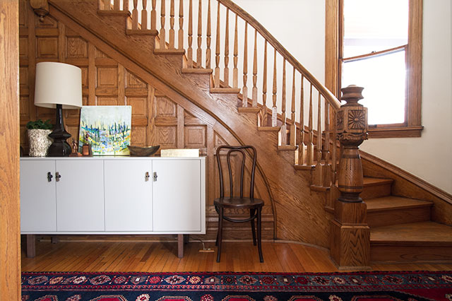 Victorian Entryway and Wooden Staircase #makingitlovely