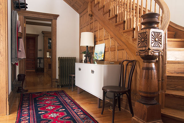 Victorian Entryway with Wooden Staircase #makingitlovely
