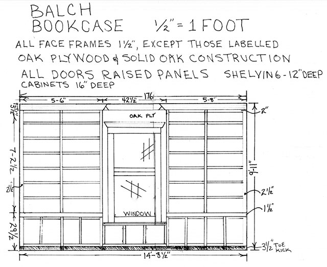 Balch Bookcase (Contractor's Drawing)