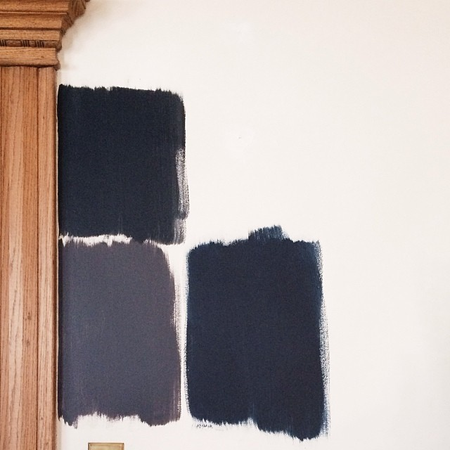 Black Paint Swatches Against a White Wall #makingitlovely