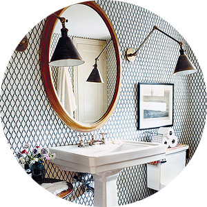 Get the Look: A Black, White, and Wood Bathroom