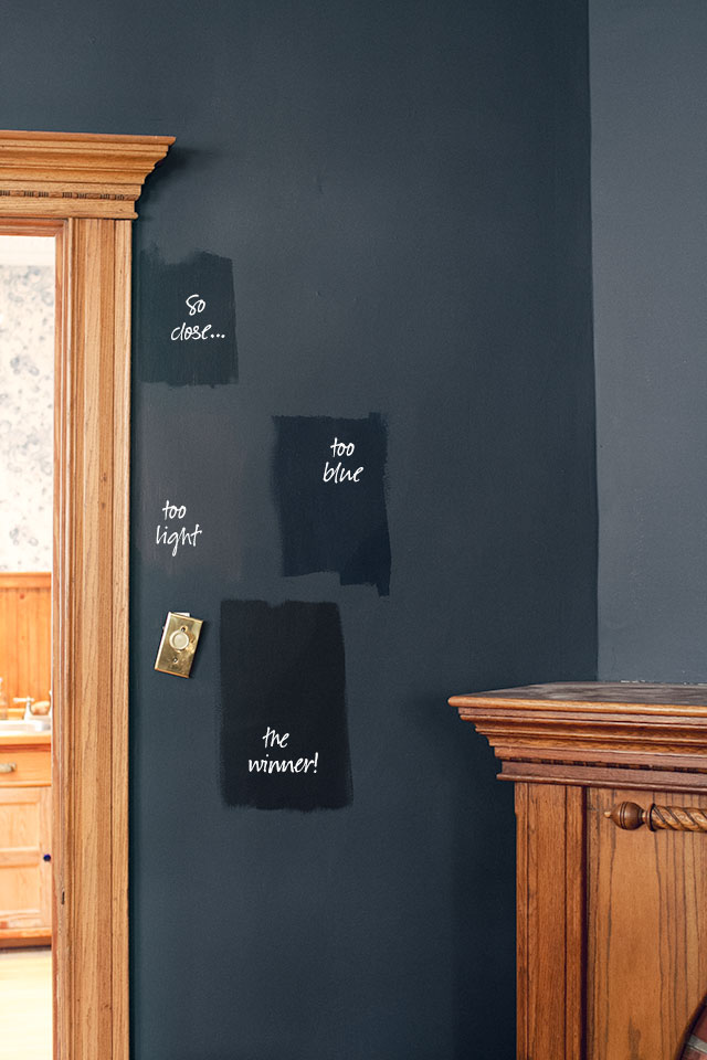 Black Benjamin Moore Paint Swatches - Soot, Almost Black, Polo Blue, and Black Beauty #makingitlovely