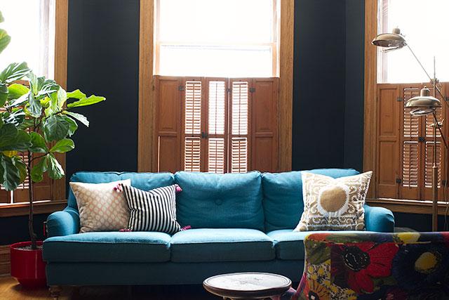 Black Walls, Blue Sofa #makingitlovely