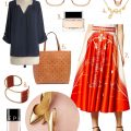 Red/Orange Midi Skirt #makingitlovely
