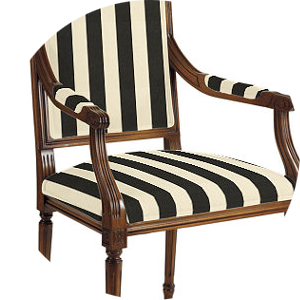 Black and White Striped Dining Chair