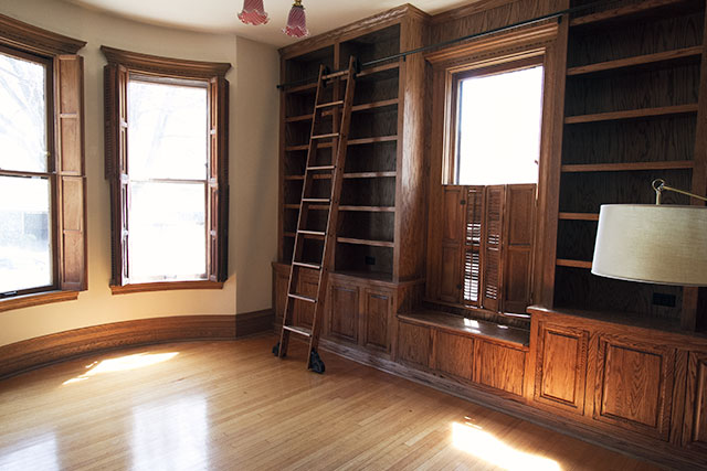 Built-in Library Bookshelves and Rolling Library Ladder #makingitlovely