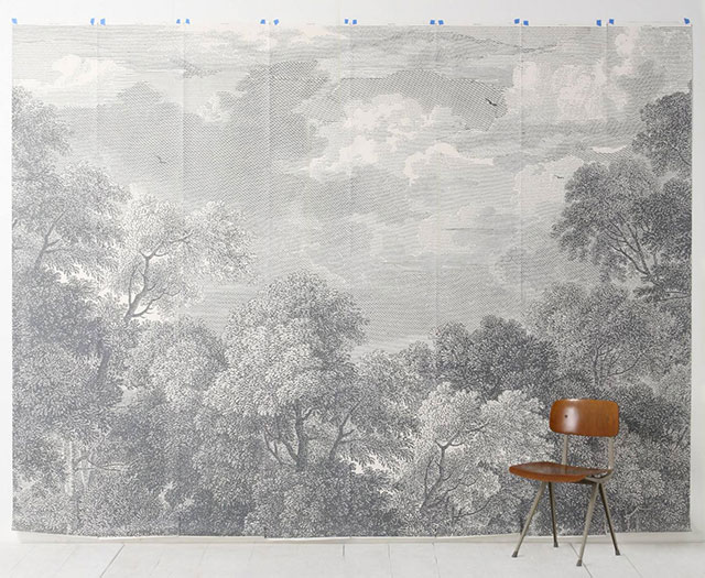 Etched Arcadia Mural Grisaille Wallpaper from Anthropologie