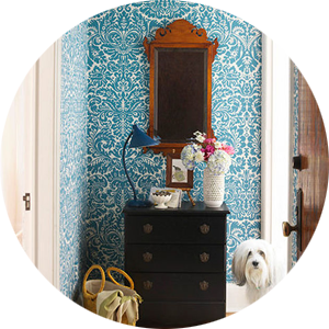 Get the Look: A Bold Wallpapered Entry