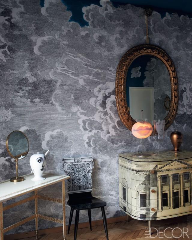 Nuvole Cole & Sons Wallpaper, Barnaba Fornasetti, Elle Decor