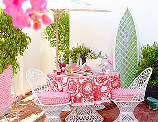 Pink Vintage Patio Dining Set