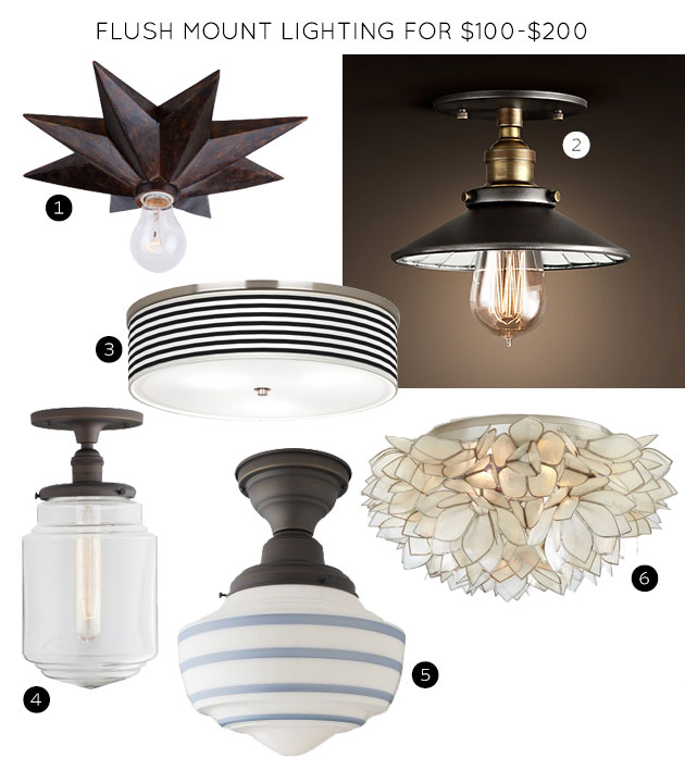 Flush Mount Lighting Fixtures for $100-$200