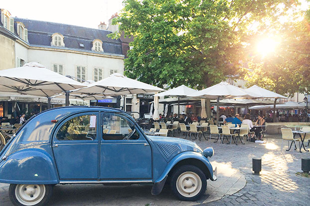Vintage Blue Car in Poitiers, France