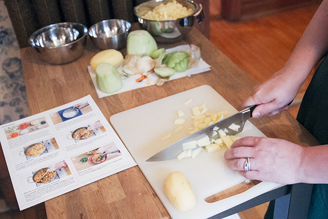 Preparing Ingredients from Blue Apron