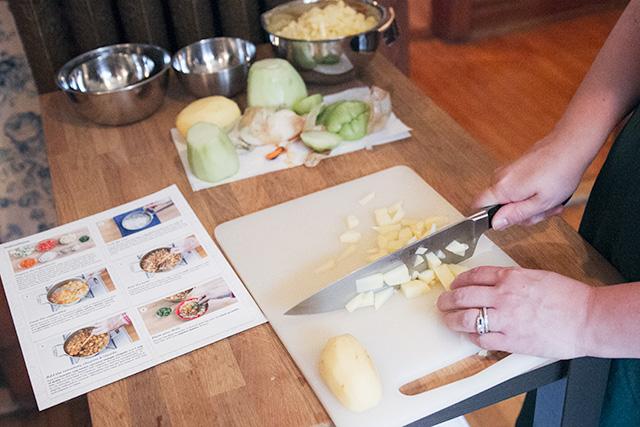 Preparing Ingredients from Blue Apron