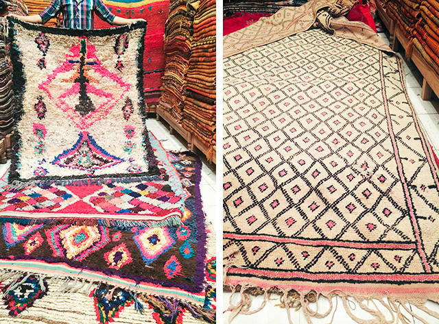 Boucherouite and Beni Ourain Rugs in Marrakech, Morocco