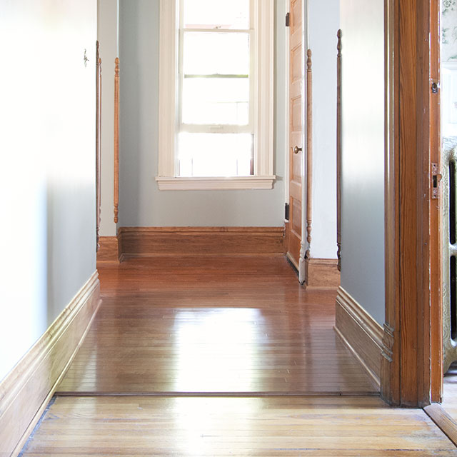 Choosing our hardwood flooring for the hallway making it for New floor