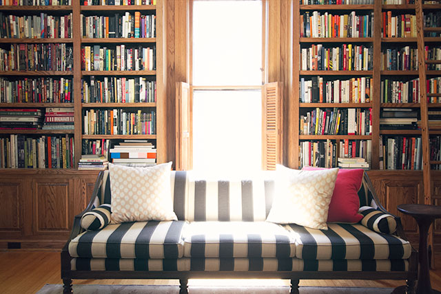 Black and White Vintage Sofa in a Library