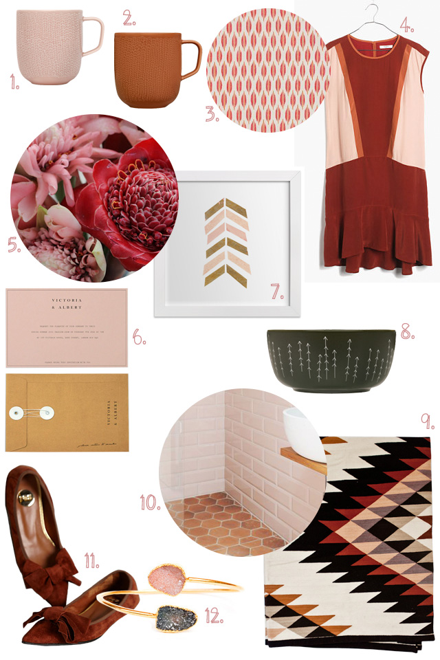 Blush, Caramel, Charcoal, and Rusty Reds and Oranges