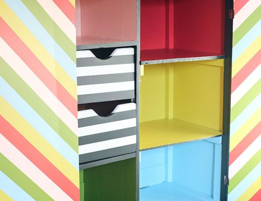 DIY Striped Painted Armoire, After