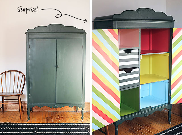 DIY Striped Armoire Surprise