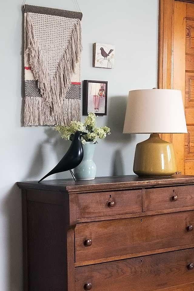 Nate Berkus Fringed Wall Hanging Over an Antique Dresser | Making it Lovely