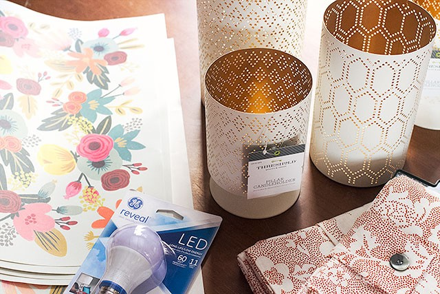 GE reveal® LED bulb, patterned paper, and candleholders and napkins from Target