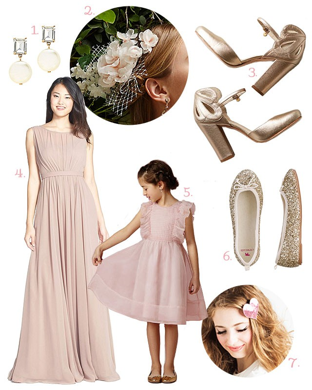 Pink Bridesmaid and Flower Girl Wedding Looks