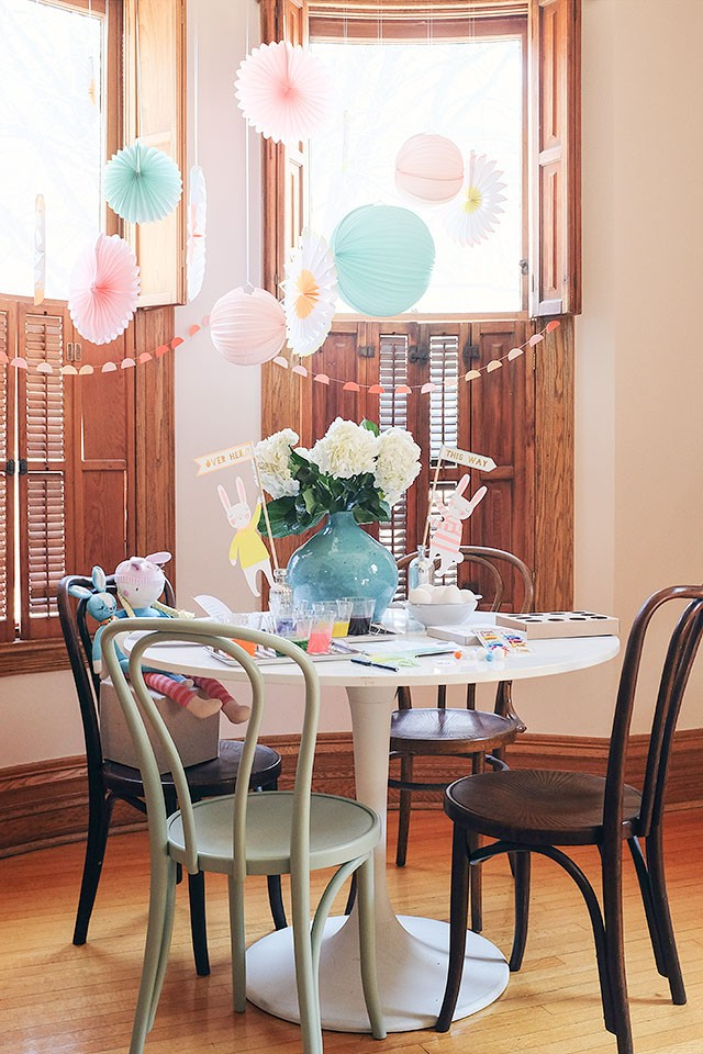 Easter Decorations: Paper Lanterns and Pinwheels, Garland, and Easter Bunnies