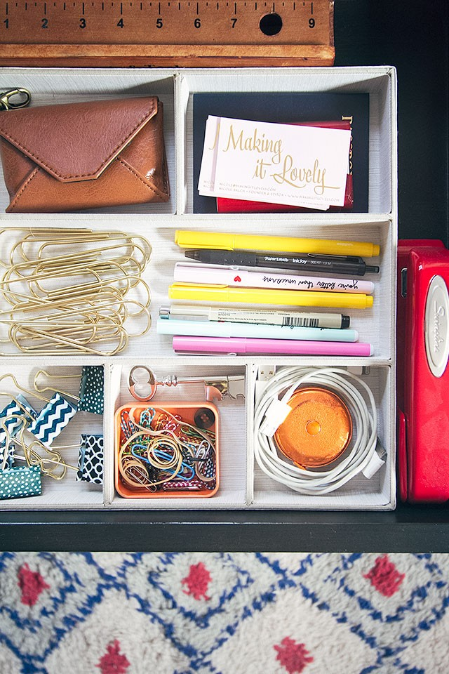 Organized Desk Drawer | Making it Lovely