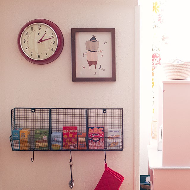 Clock, Petit Pippin Framed Print, and Cubby with Play Food