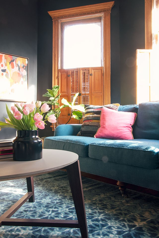 Teal Sofa, Black Walls, Blue Loloi Rug | Making it Lovely