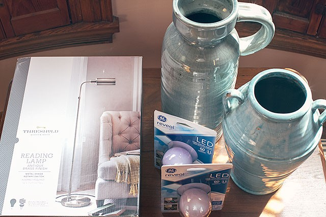 brass lamp and vases from Target, and GE reveal® LED bulbs #100reveal