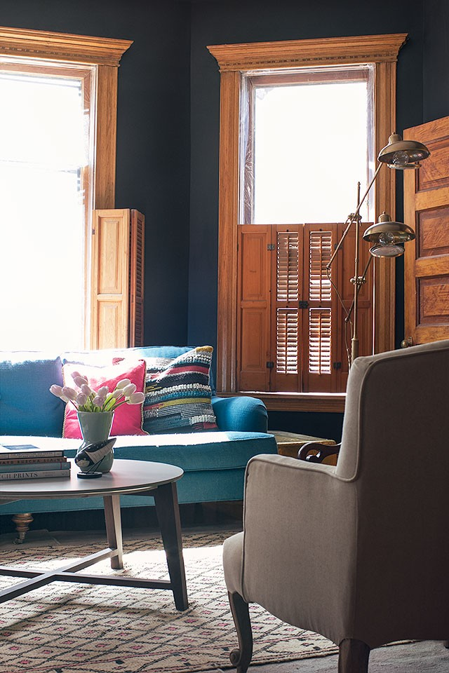 Black Walls, Teal Sofa, Moroccan Rug   Making it Lovely