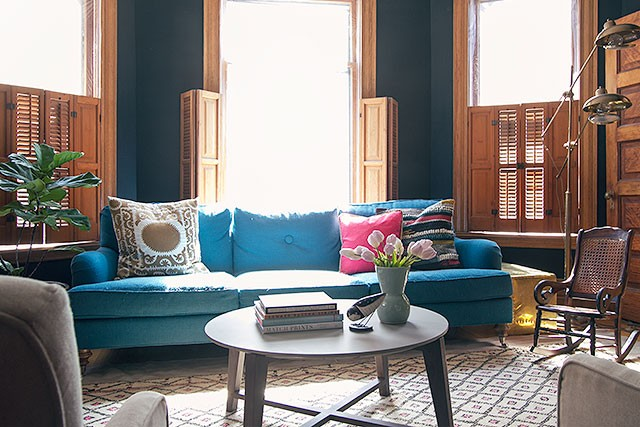 Black Walls, Teal Sofa, Moroccan Rug | Making it Lovely